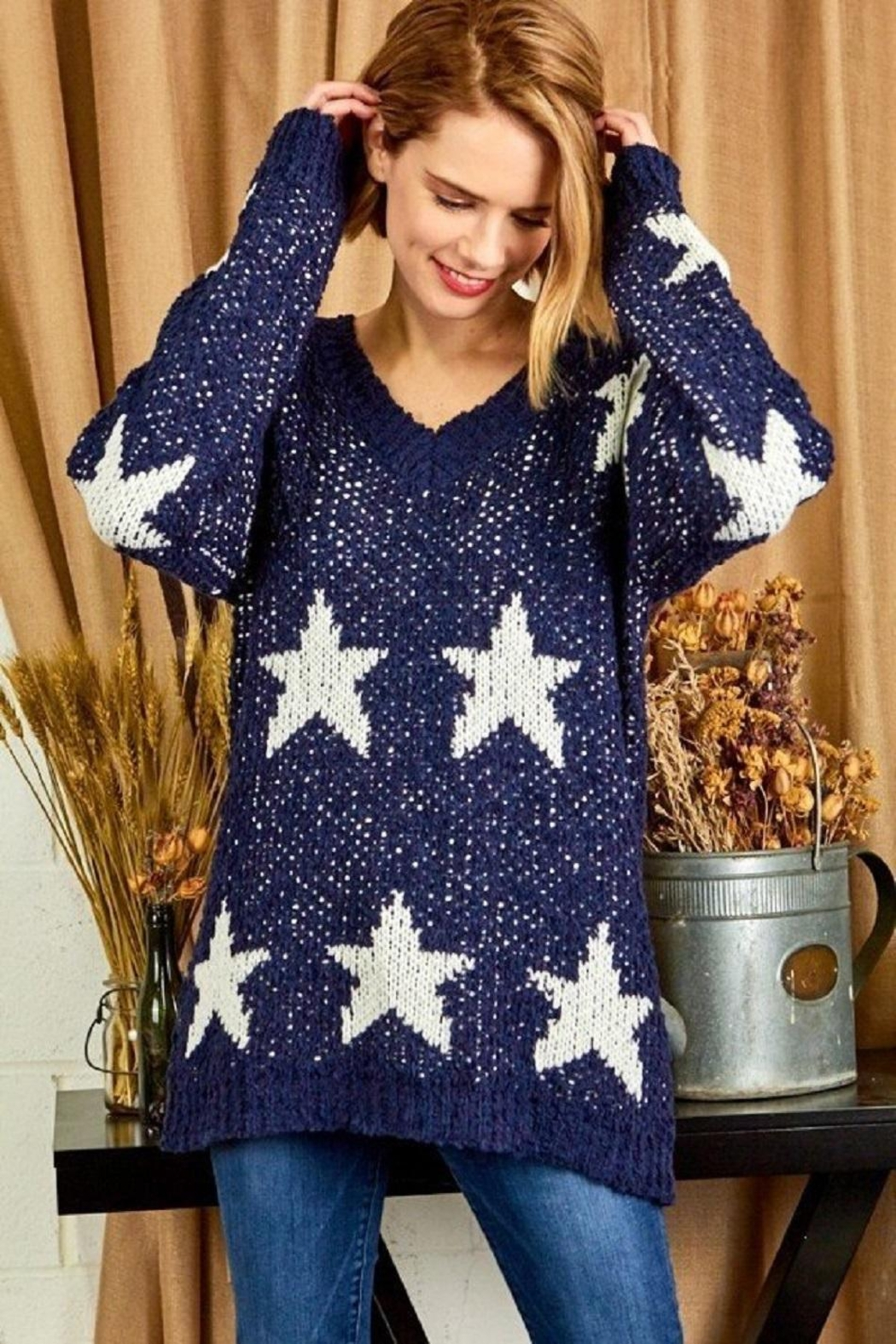 Sunlight Star Print Sweater - Front Cropped Image