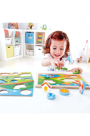 Hape  Sunny Valley 3 in 1 Puzzle - Back cropped