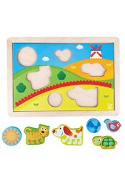 Hape  Sunny Valley 3 in 1 Puzzle - Side cropped