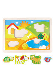 Hape  Sunny Valley 3 in 1 Puzzle - Front full body