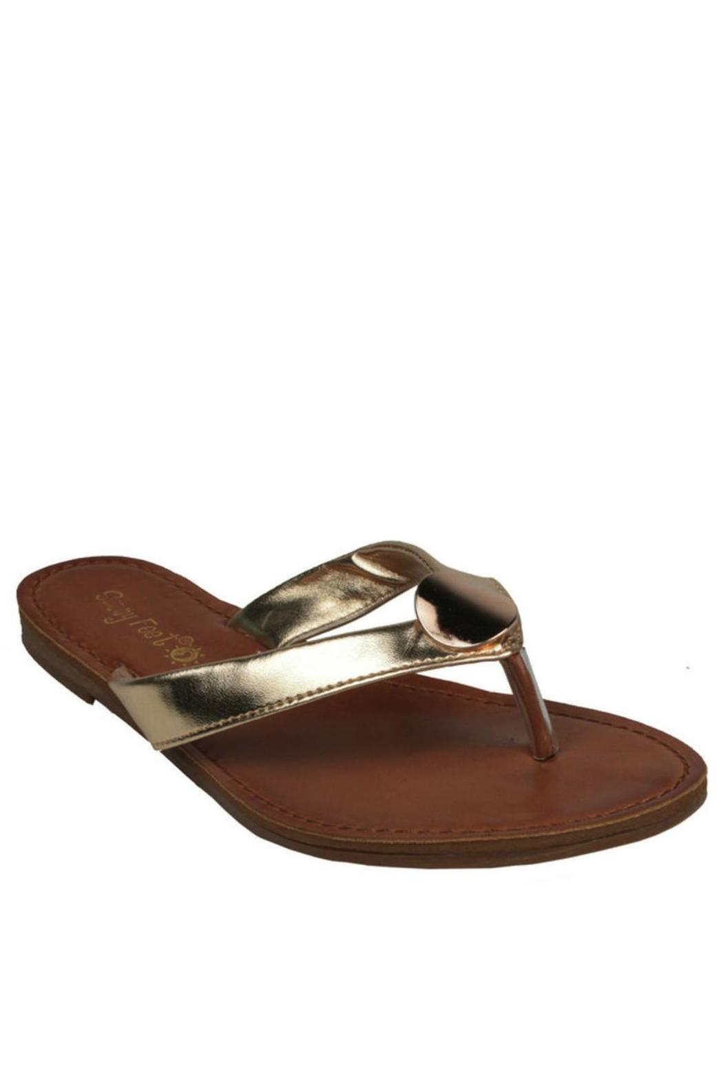 Sunny Feet Gold Charm Flip-Flop - Front Full Image