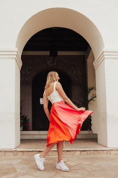Shoptiques Product: Sunset Stylin' Pleated Color Blocked Midi Skirt