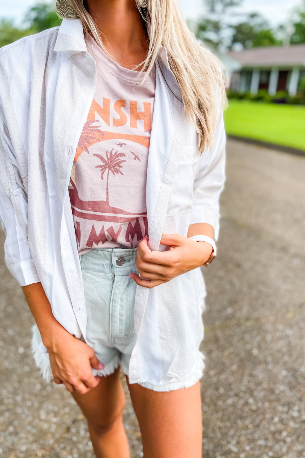 Style Rack Sunset Walks Soft Linen White and Beige Button Down Shirt - Main Image