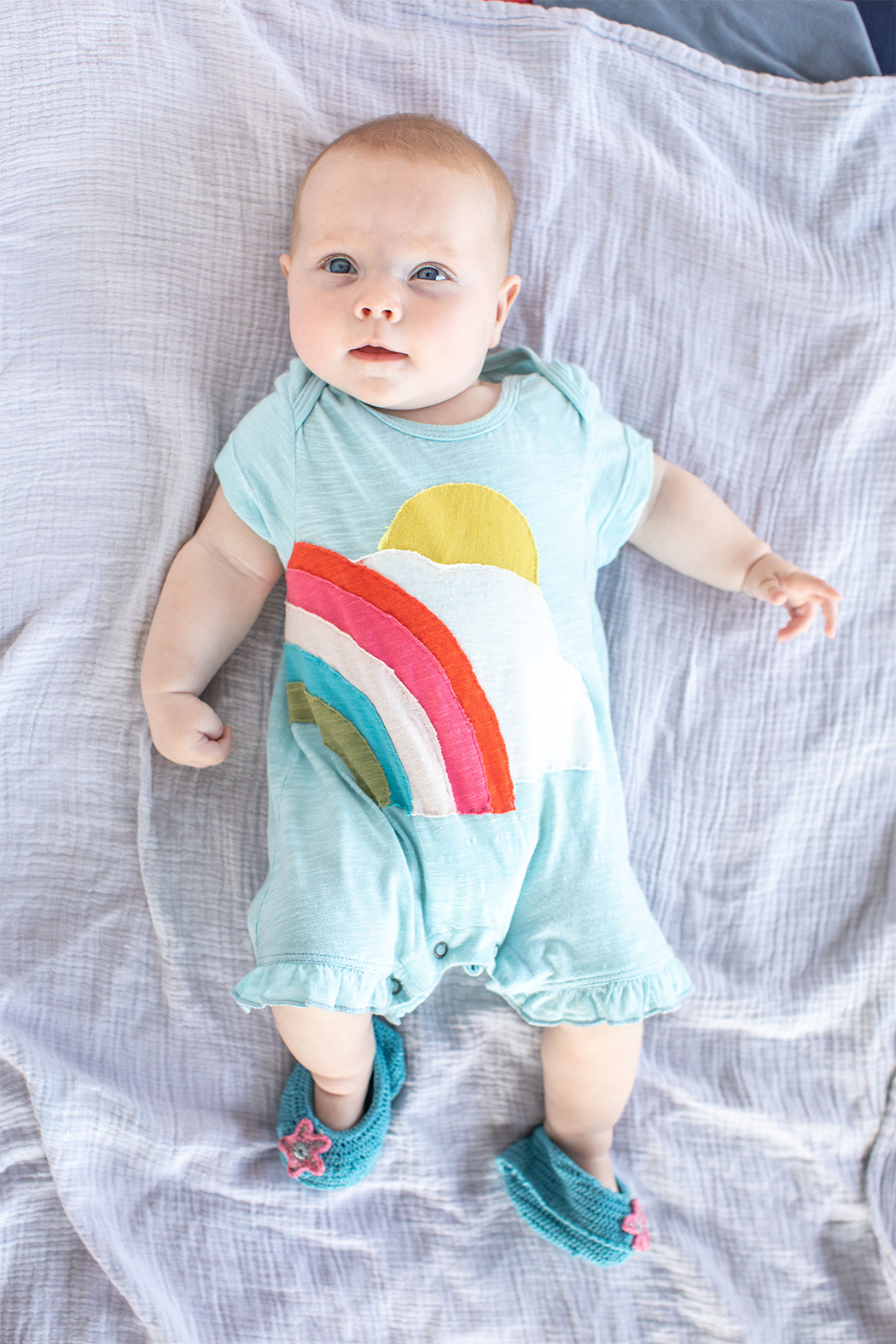 Red Egg & Ginger Sunshine Rainbow Romper - Main Image