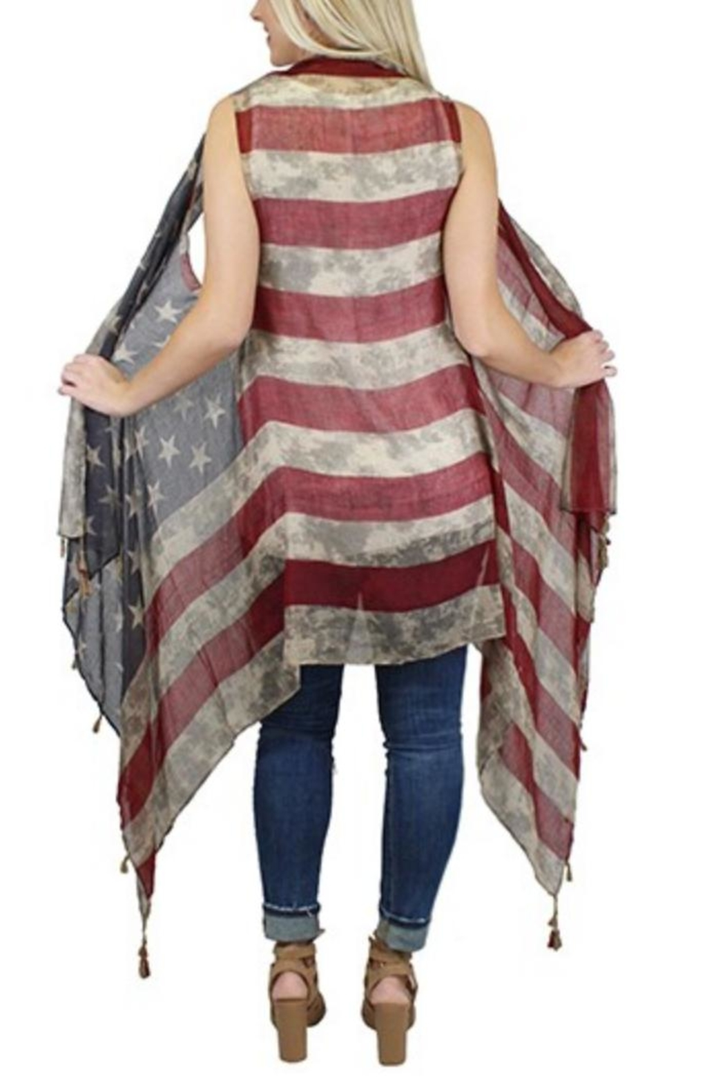 Sunshine & Rodeos Weathered American-Flag Scarf-Wrap - Front Full Image