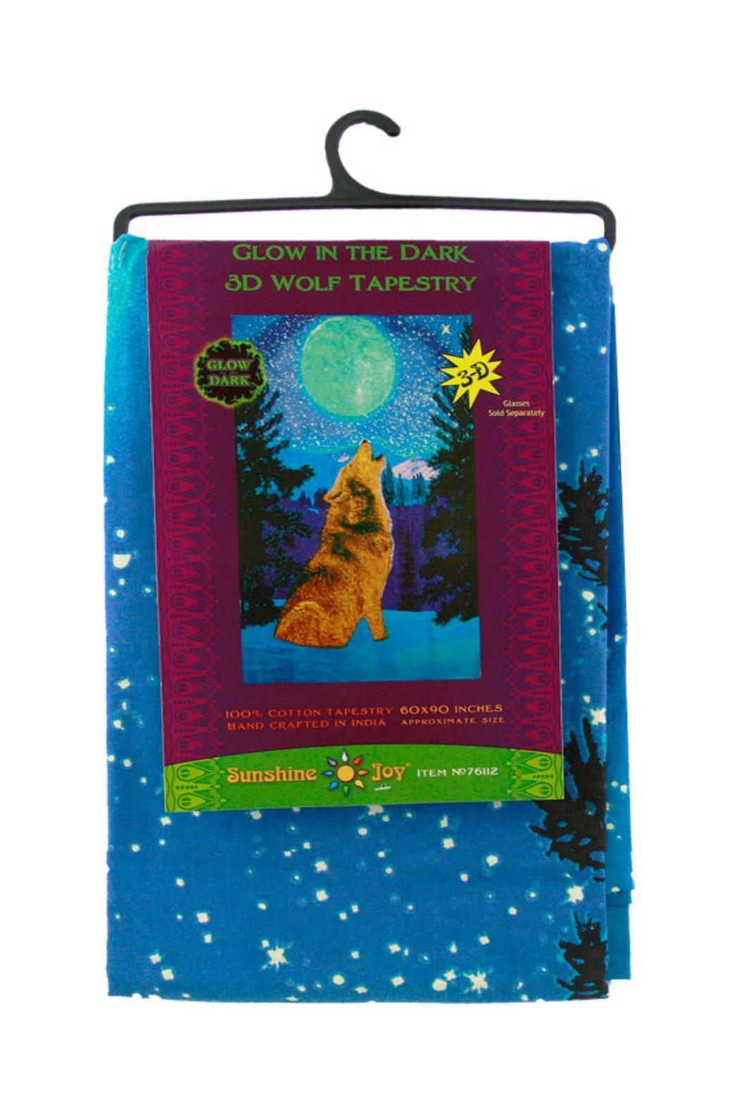 Sunshine Joy Glow In The Dark 3d Wolf Tapestry - Side Cropped Image