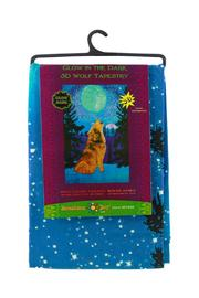 Sunshine Joy Glow In The Dark 3d Wolf Tapestry - Side cropped