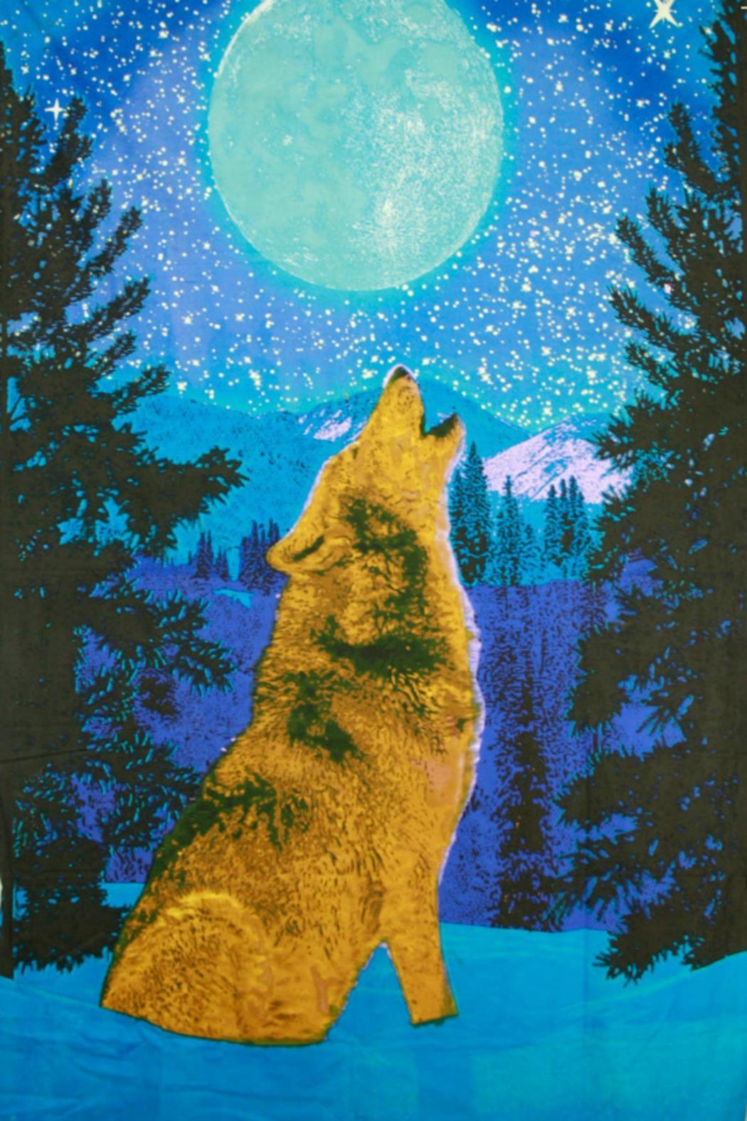 Sunshine Joy Glow In The Dark 3d Wolf Tapestry - Main Image