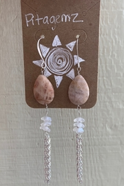 Pitagemz Sunstone & Flower Earrings - Product Mini Image
