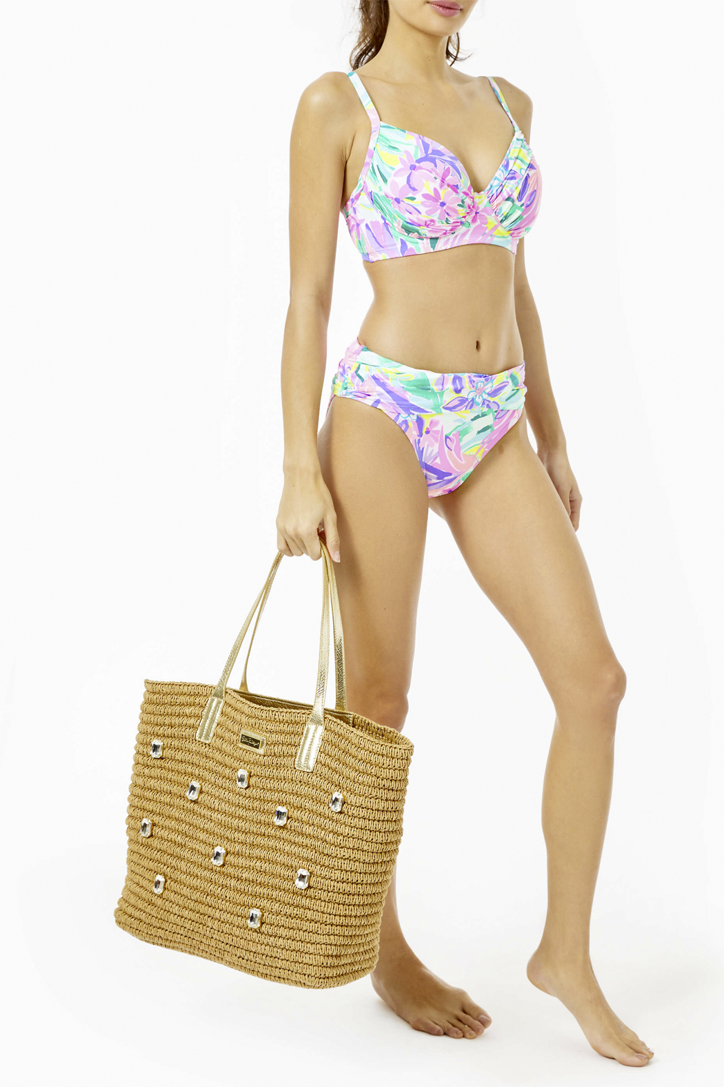 Lilly Pulitzer Sunstone Straw Tote - Back Cropped Image