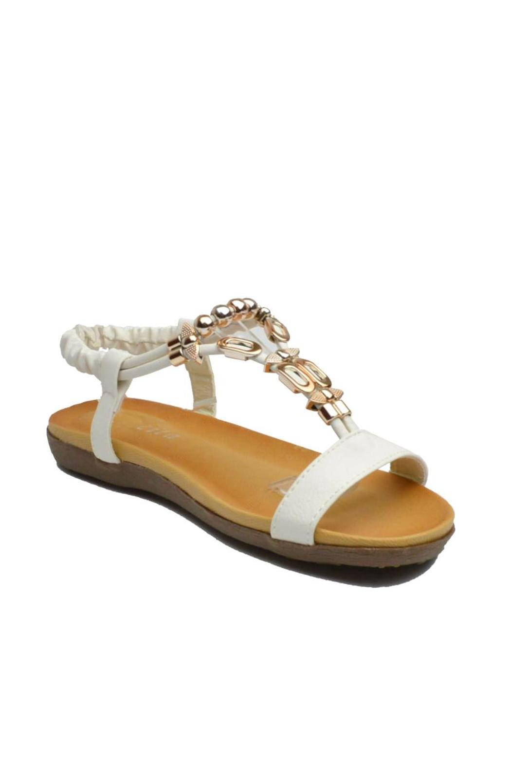 Sup Trading Gold Hardware Sandal - Front Full Image