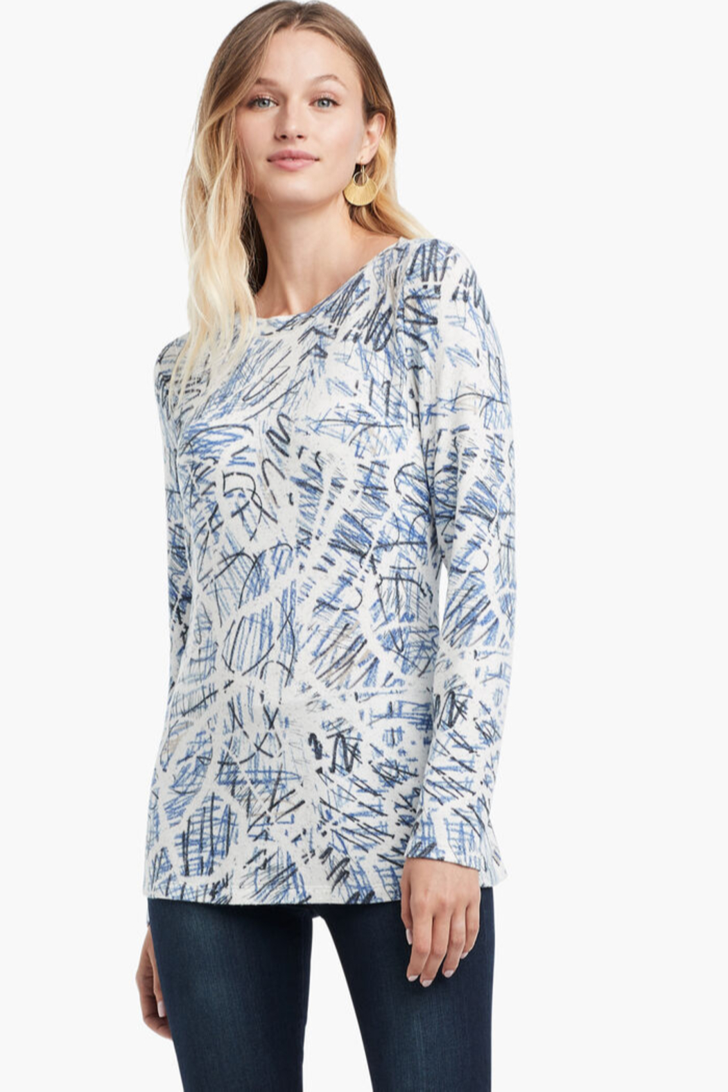 Nic + Zoe  Super classic scribbled up top, long sleeves, boat neck. - Main Image