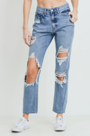 just black Super Destroyed GF Jeans - Product Mini Image