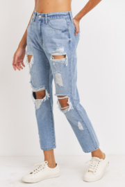 just black Super Destroyed GF Jeans - Front full body