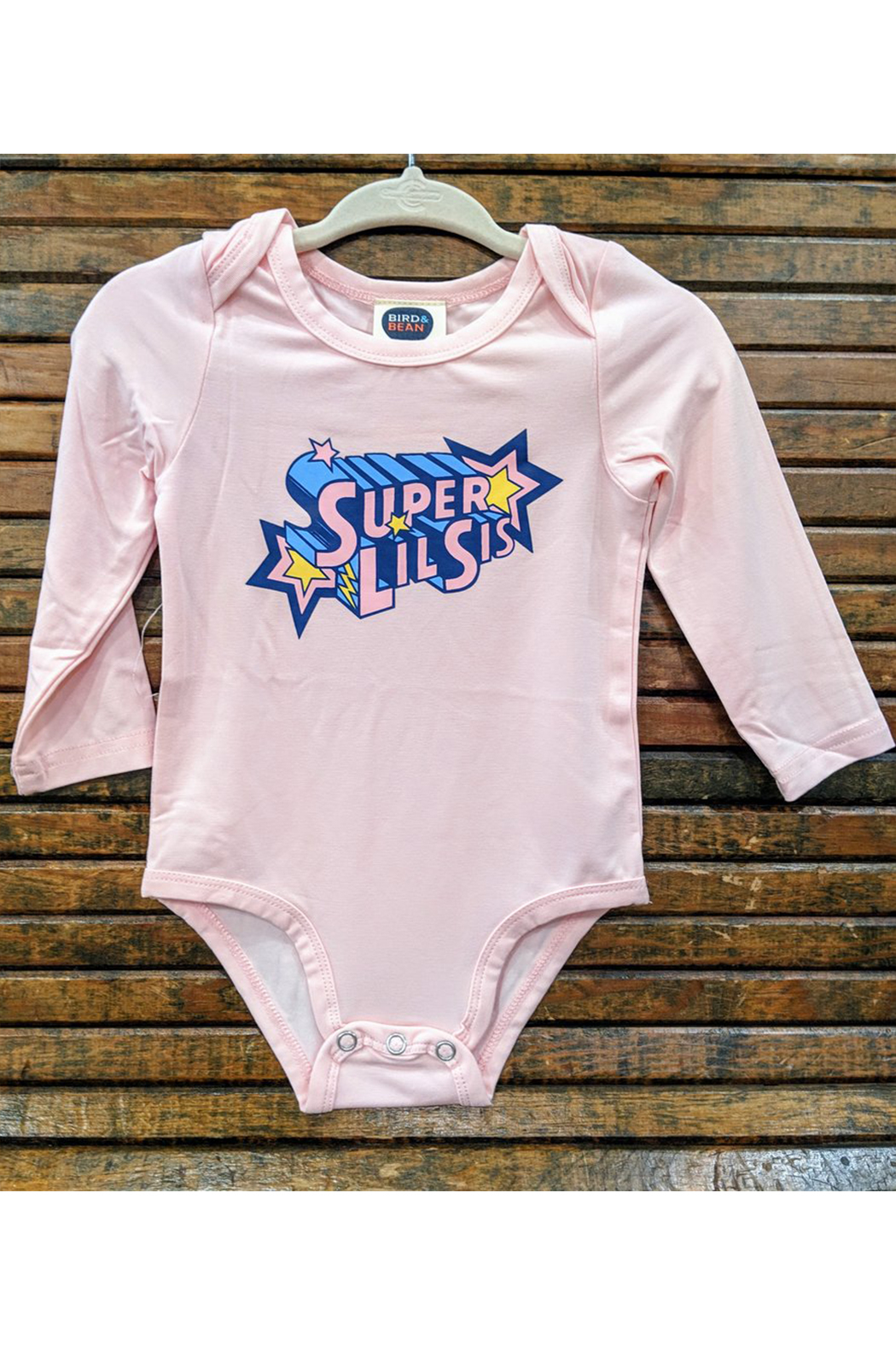 Bird & Bean Super Little Bro/Super Little Sis Onesie - Front Cropped Image