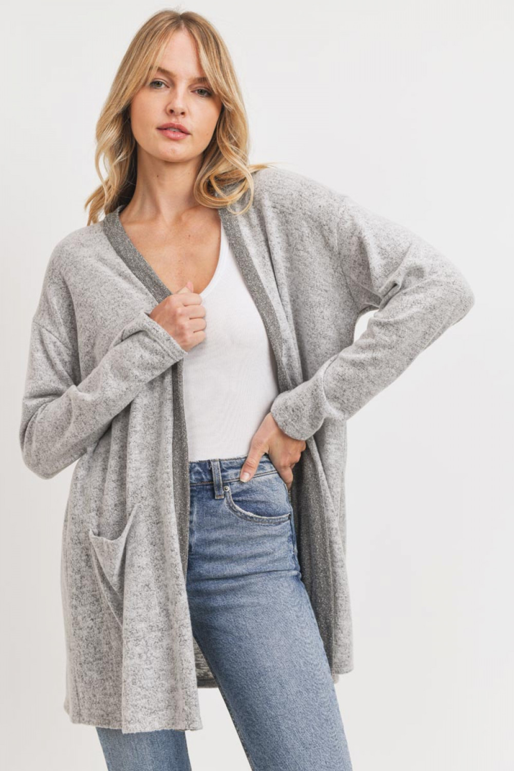 Lyn-Maree's  Super Soft Trimmed Cardi - Front Cropped Image