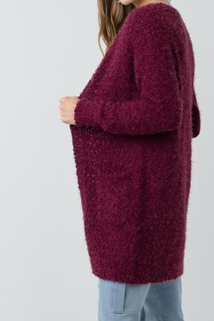 Back in Love Super soft wine popcorn texture boyfriend cardigan - Product List Image