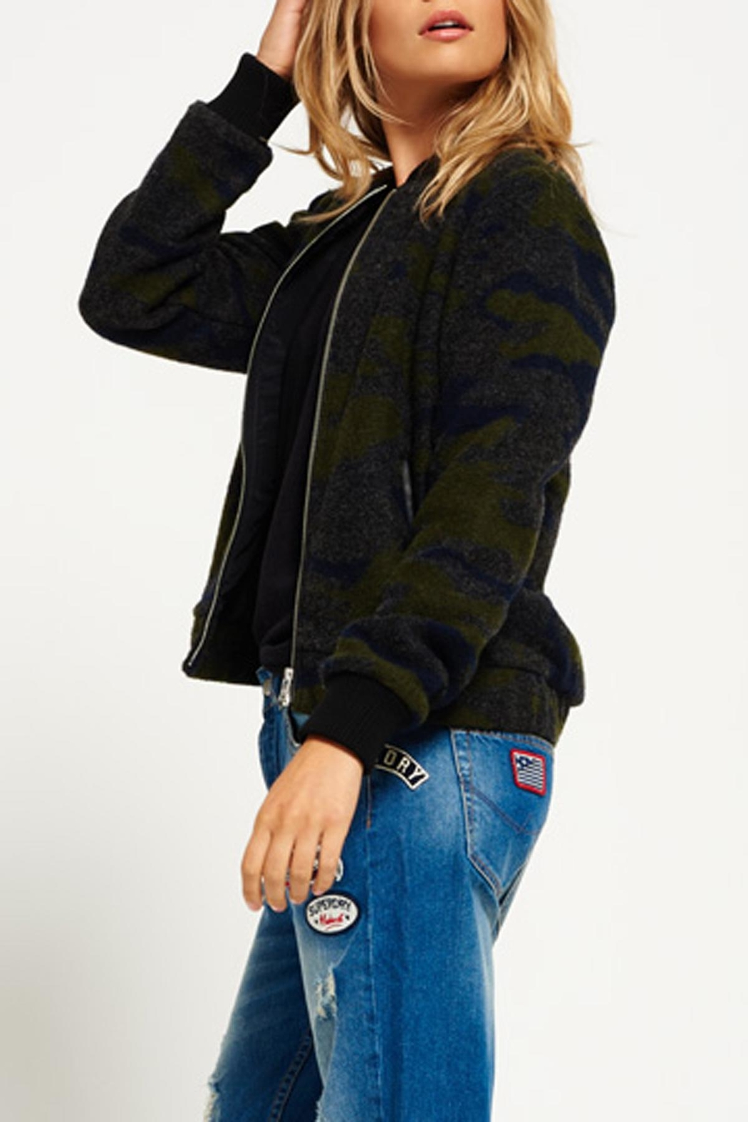 Superdry Evie Wool Bomber Jacket - Front Full Image