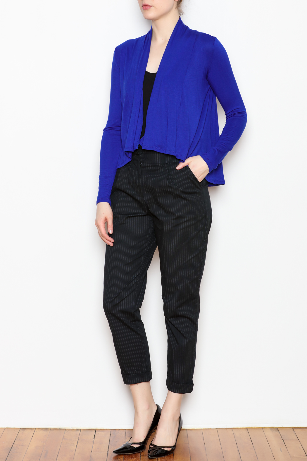 Superline Draped Open Cardigan - Side Cropped Image