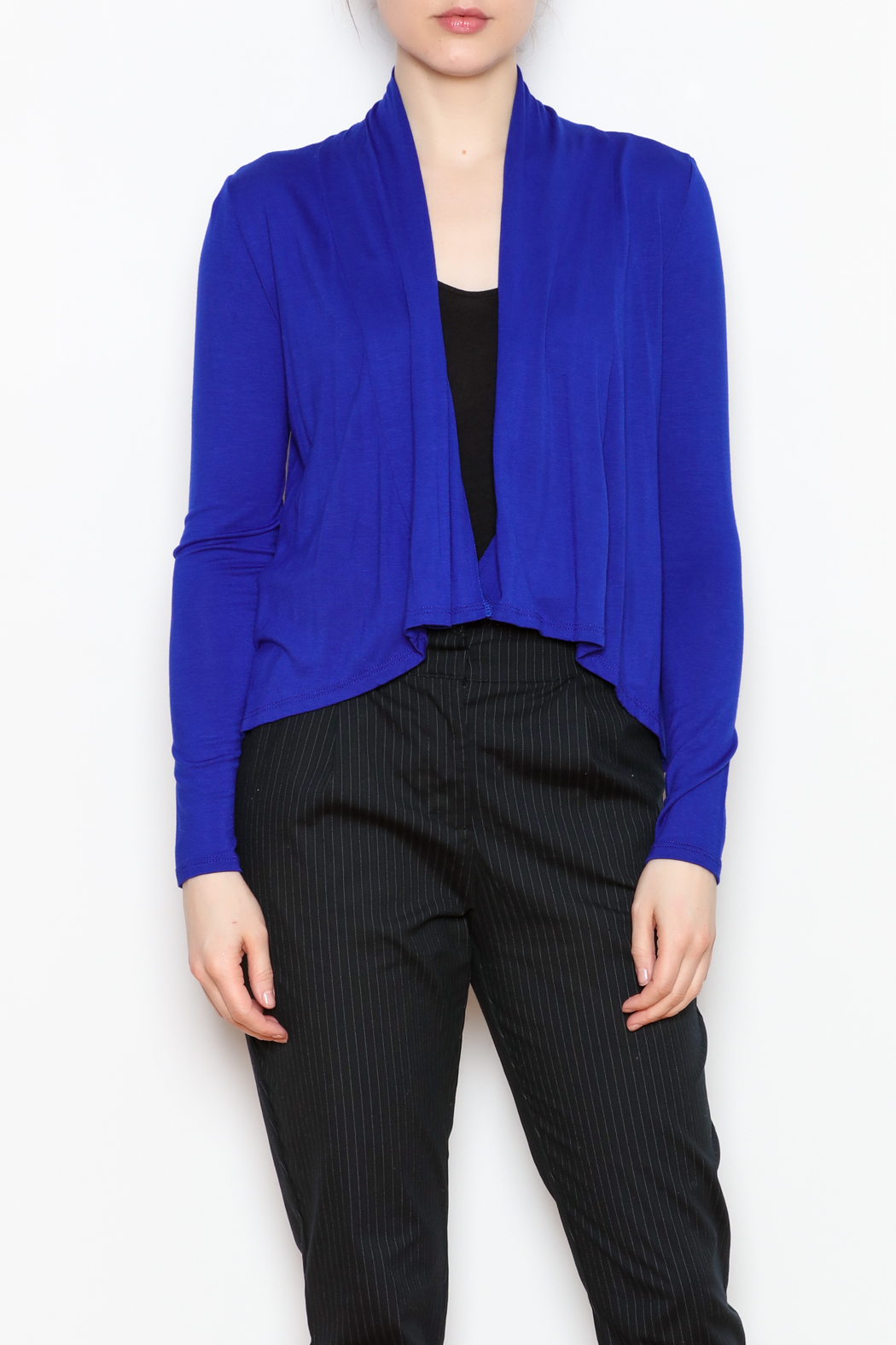 Superline Draped Open Cardigan - Front Cropped Image