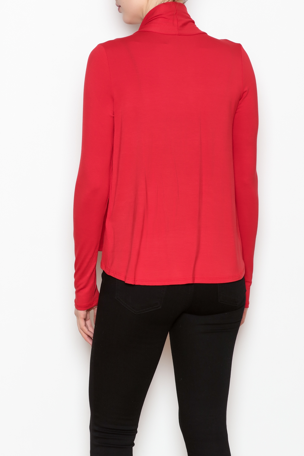 Superline Draped Open Cardigan - Back Cropped Image