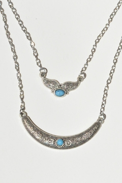 Shoptiques Product: Metellic Antique Crescent/wing Double Strand Necklace