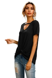 supreme fashion Black Cut Out Twist Top - Front full body