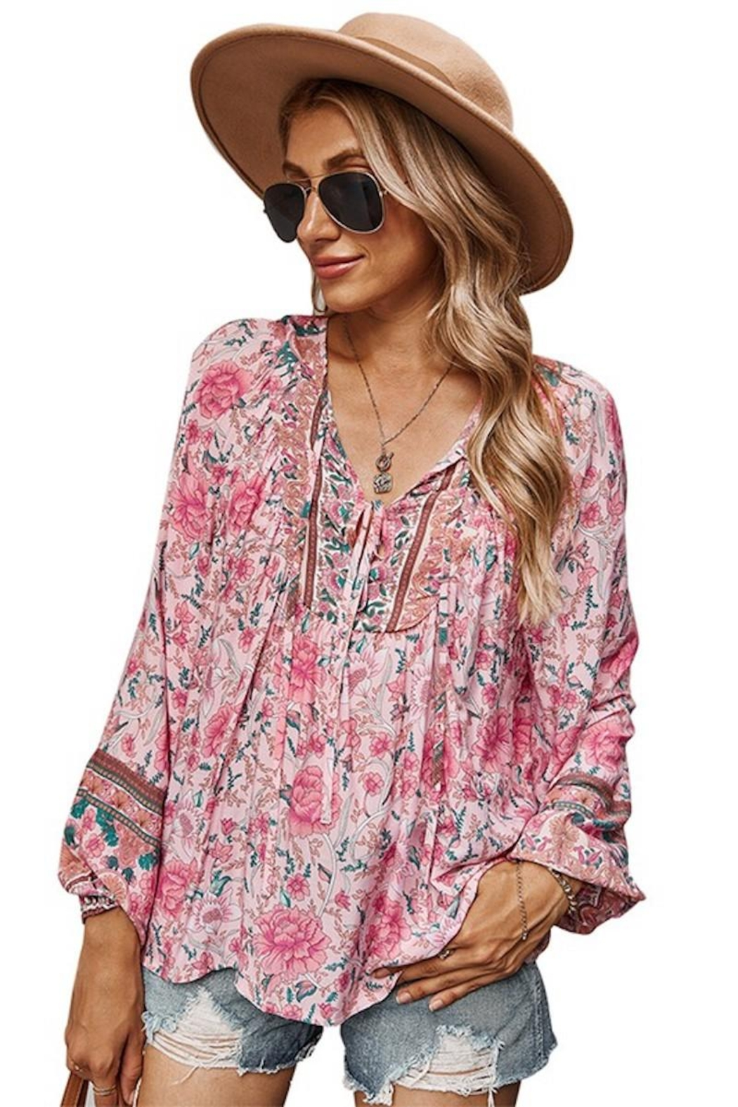 supreme fashion Pink Floral Boho Blouse - Main Image