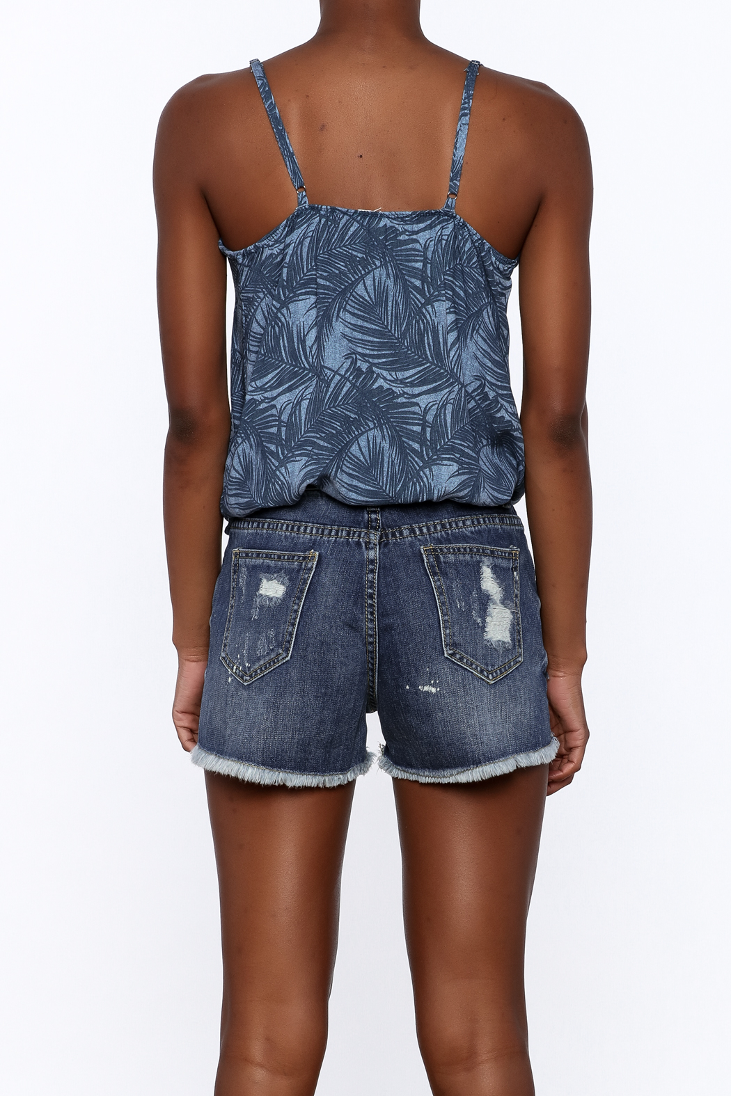 Surf Gypsy Palm Tree Tank Top - Back Cropped Image