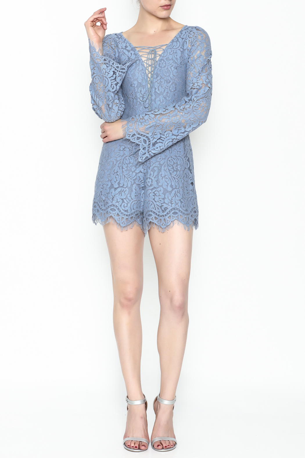 Surf Gypsy Romatic Lace Romper - Side Cropped Image