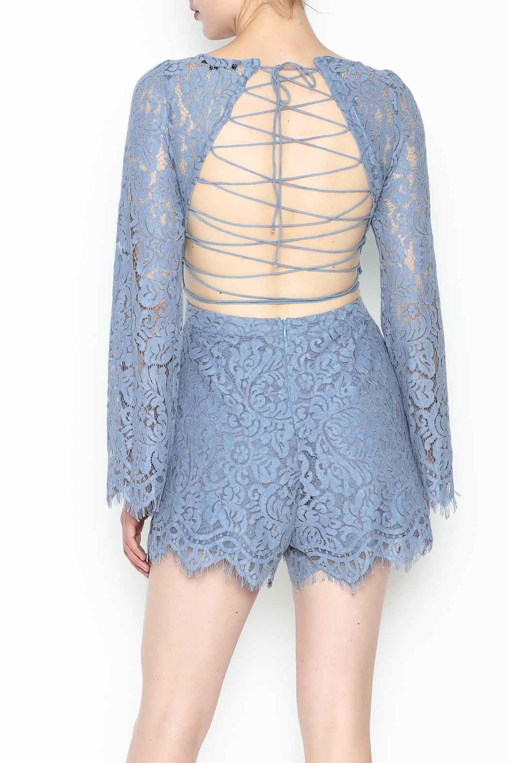 Surf Gypsy Romatic Lace Romper - Back Cropped Image