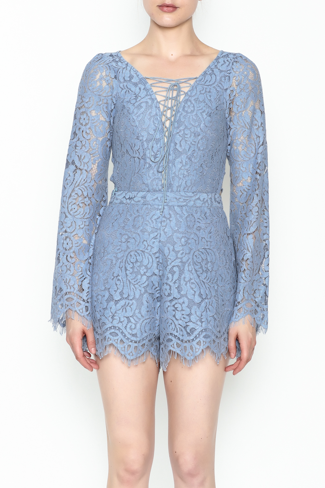 Surf Gypsy Romatic Lace Romper - Front Full Image