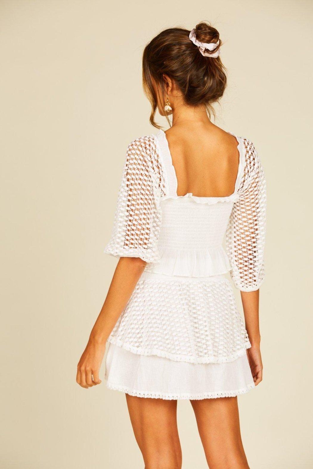Surf Gypsy Eyelet Puff Sleeve Top - Front Full Image