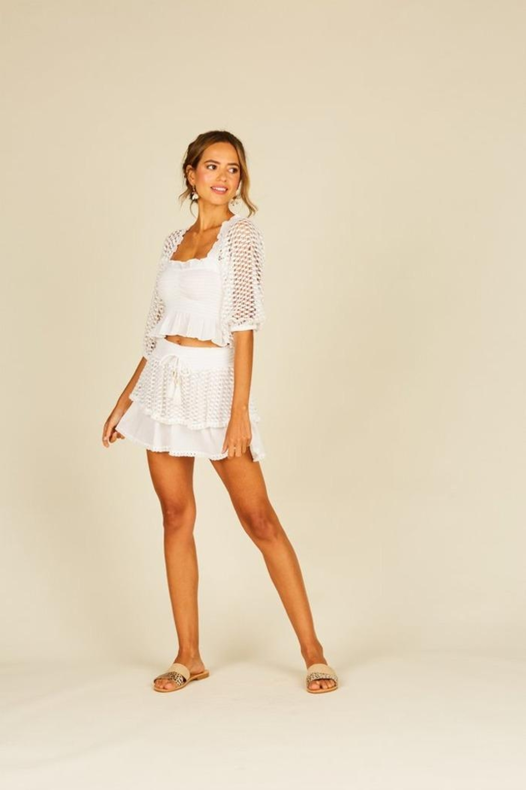 Surf Gypsy Eyelet Puff Sleeve Top - Side Cropped Image