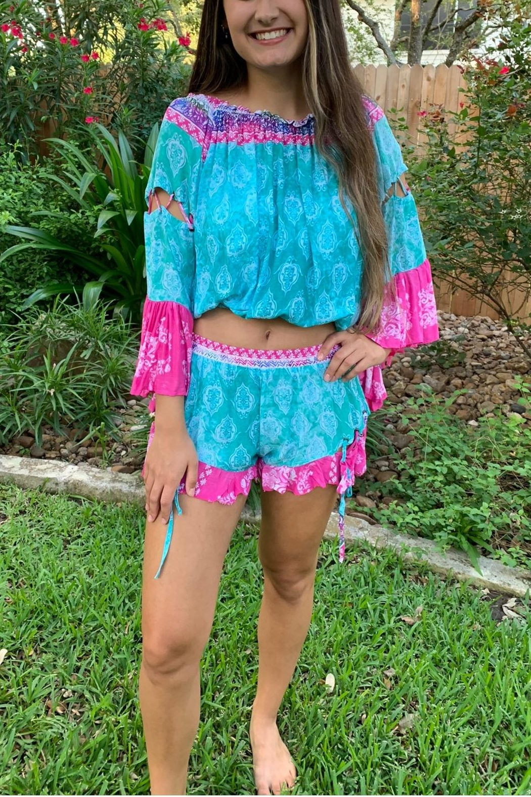 Surf Gypsy Island Vibes Shorts & Cropped Top Set - Back Cropped Image