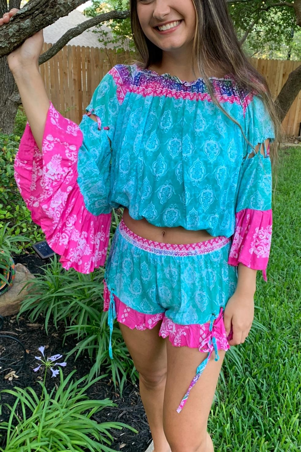Surf Gypsy Island Vibes Shorts & Cropped Top Set - Front Full Image