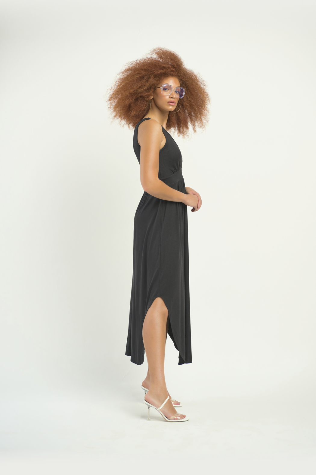 Dex Surplice Hi Lo Knit Dress - Front Full Image