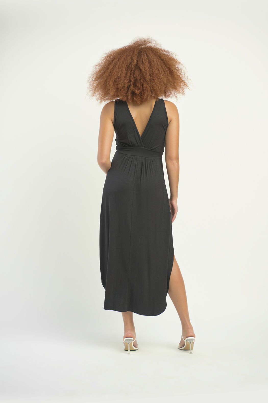 Dex Surplice Hi Lo Knit Dress - Side Cropped Image