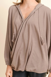 Doe & Rae Surplice Hooded Pullover - Back cropped