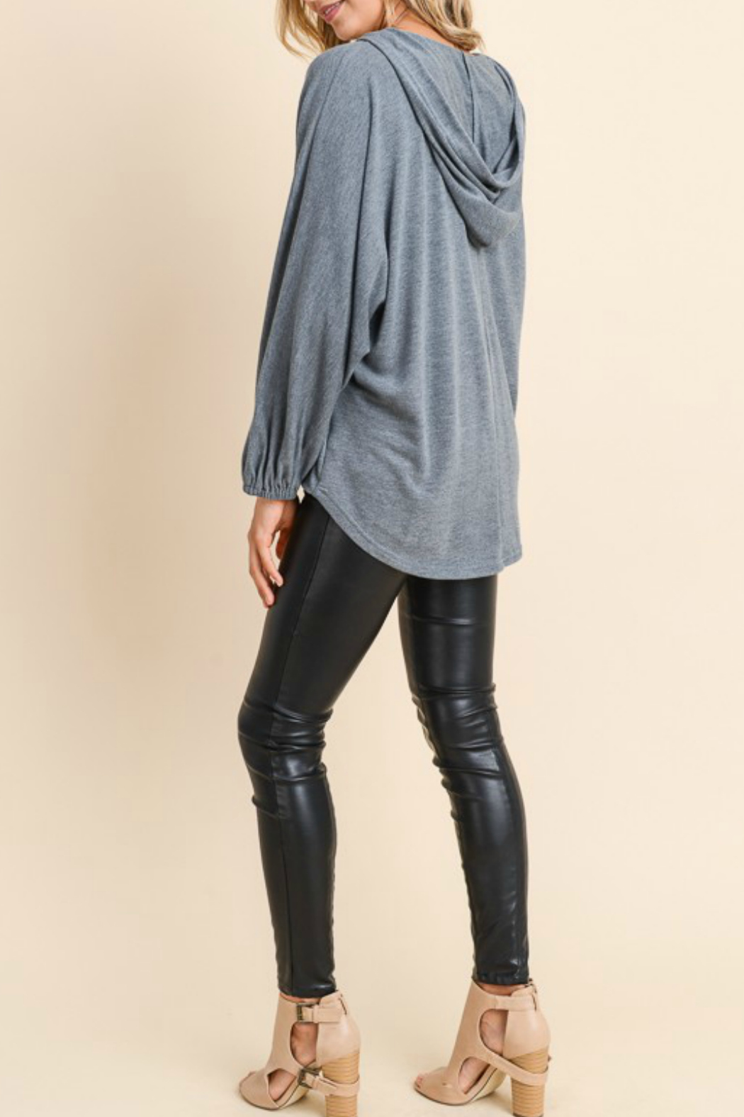 Doe & Rae Surplice Hooded Pullover - Side Cropped Image