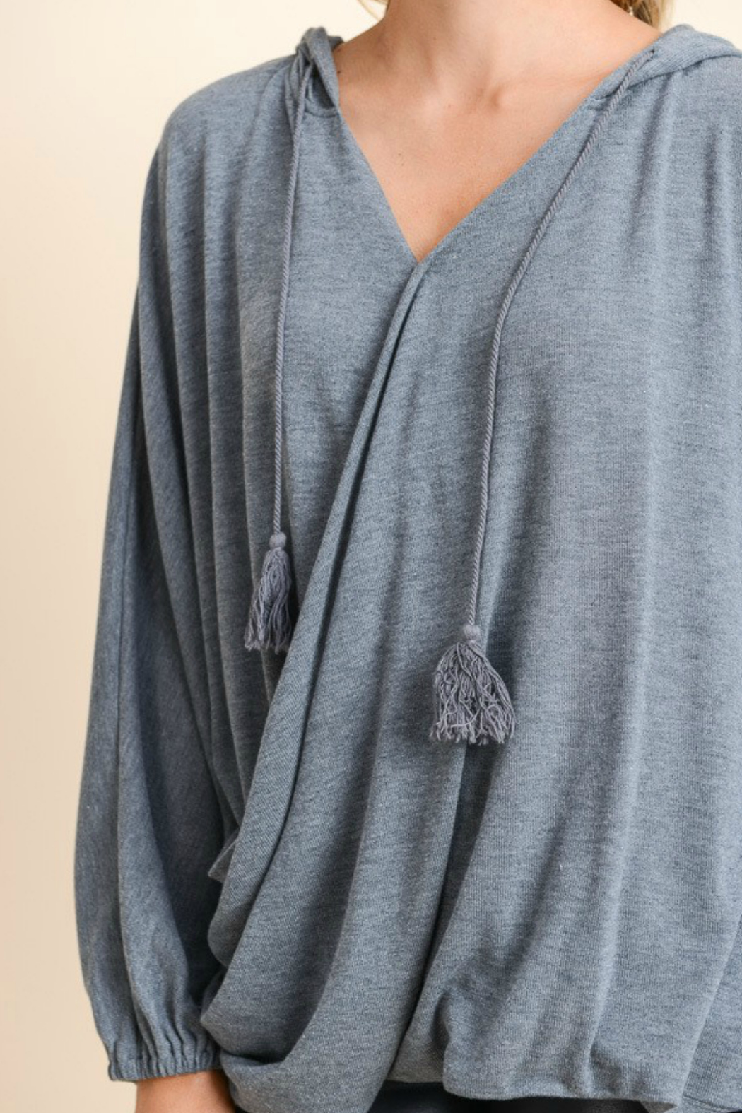 Doe & Rae Surplice Hooded Pullover - Back Cropped Image