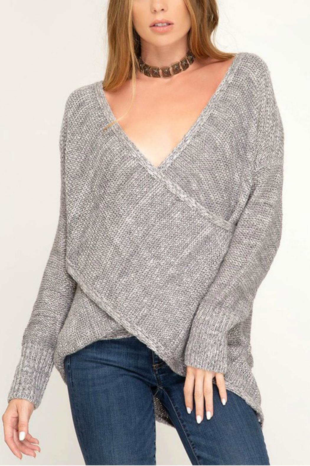 She + Sky Surplice Knit Sweater - Front Cropped Image