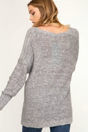 She + Sky Surplice Knit Sweater - Front full body