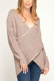 She + Sky Surplice Knit Sweater - Front cropped