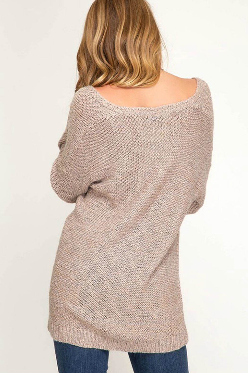 She + Sky Surplice Knit Sweater - Front Full Image