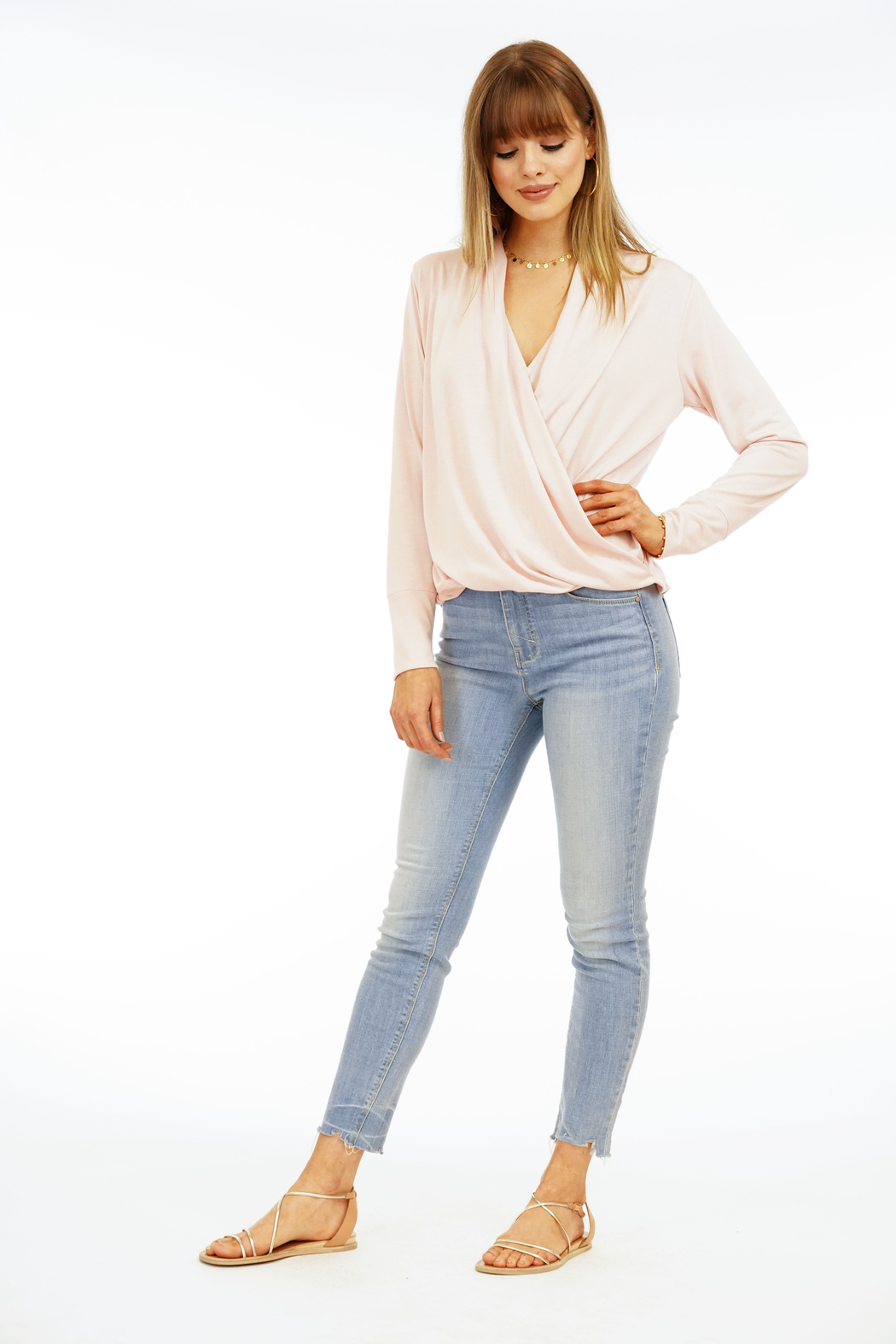 Veronica M Surplice Long Sleeve Top - Front Full Image