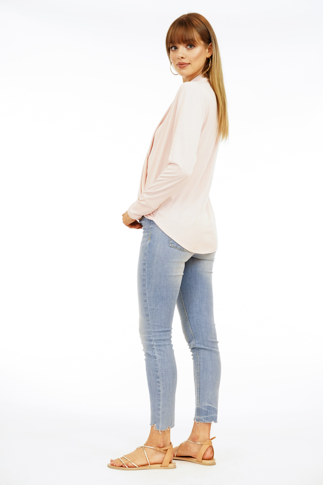 Veronica M Surplice Long Sleeve Top - Side Cropped Image