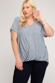 She and Sky Surplice Short Sleeve Plus Size Top - Product Mini Image