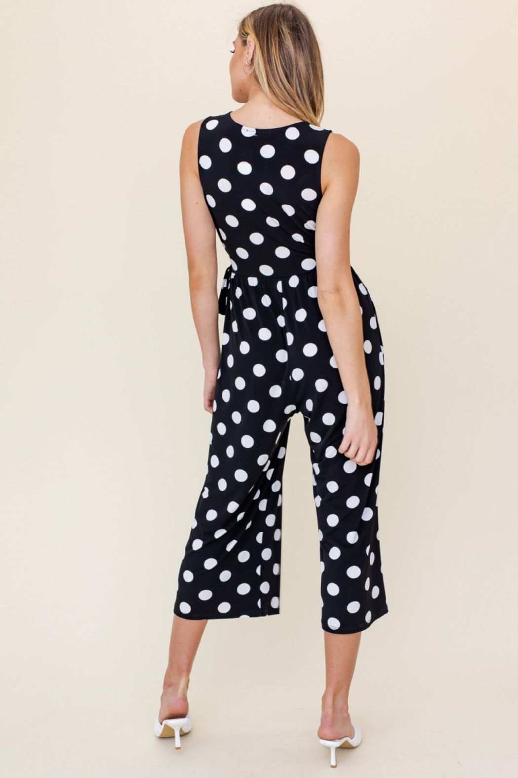 Gilli  SURPLICE SIDE TIE CROPPED JUMPSUIT - Front Full Image