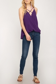 She + Sky Surplice Strappy Tank - Front cropped